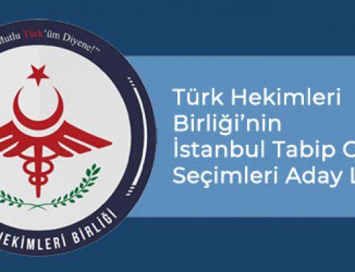 Türk Hekimleri Birliği'nin İstanbul Tabip Odası Seçimleri Aday Listesi